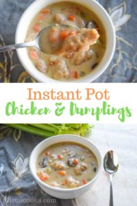 instant pot chicken and dumplings in a white bowl with a spoon reaching in and holding a dumpling and piece of chicken.