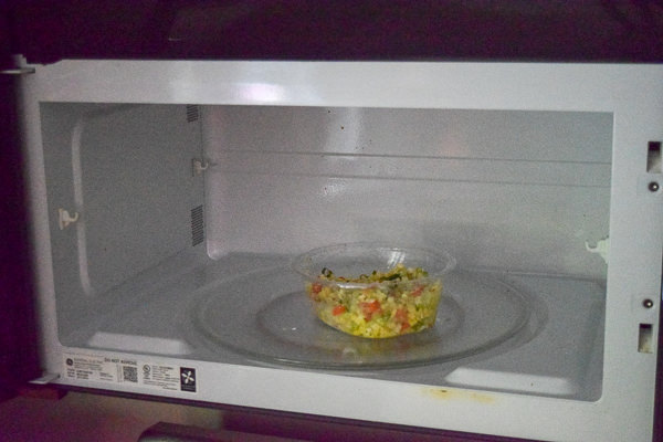 Green giant fresh 'fried rice' meal bowl in the microwave