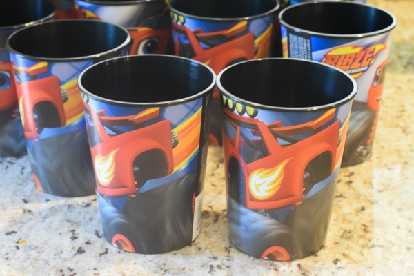 Blaze and the Monster Machine cups as Monster truck birthday party favors