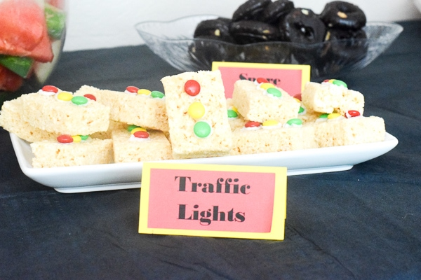 Rice krispie treat traffic lights for a monster truck themed birthday.