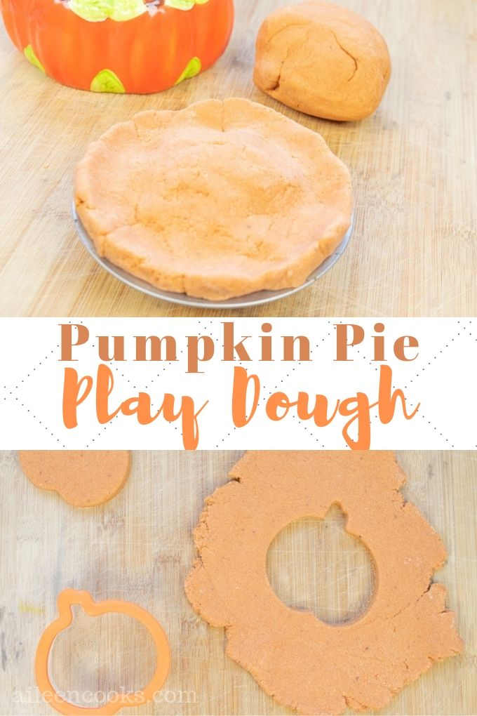 Whip up a batch of this festive pumpkin pie playdough for the little pumpkin in your life. It's easy to make with simple pantry ingredients and the pumpkin spice scent is perfect for Fall!
