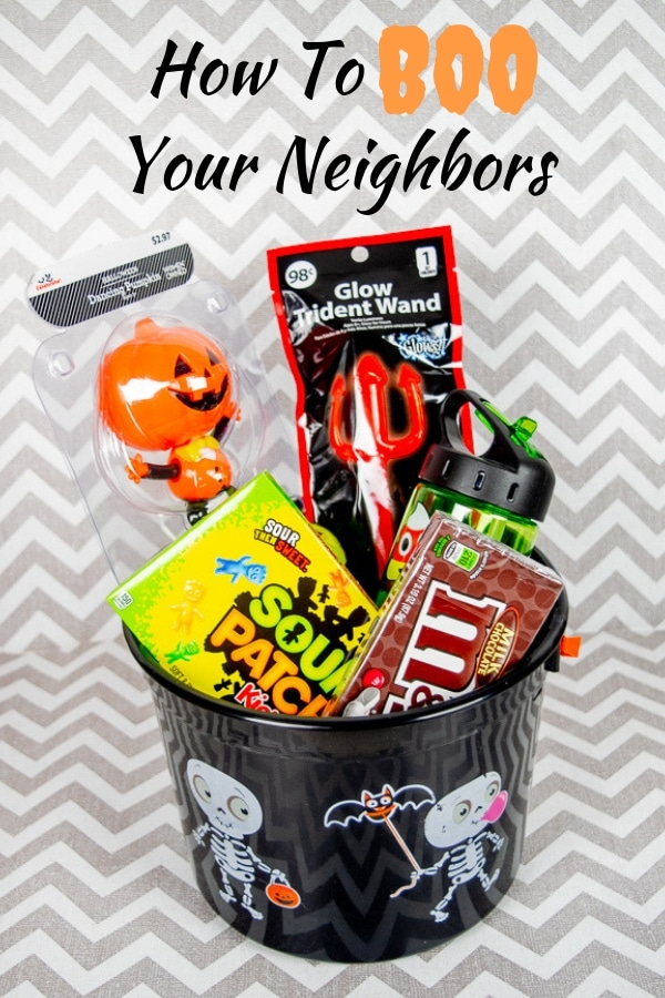 A simple BOO basket for a tween boy in a black skeleton bucket.