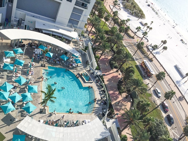 A view of the pool from the room at the Wyndham Grand Clearwater Beach.