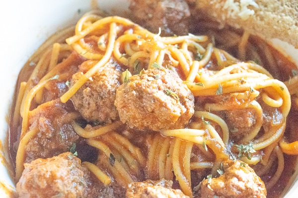 Close up of spaghetti and meatballs made in the instant pot.