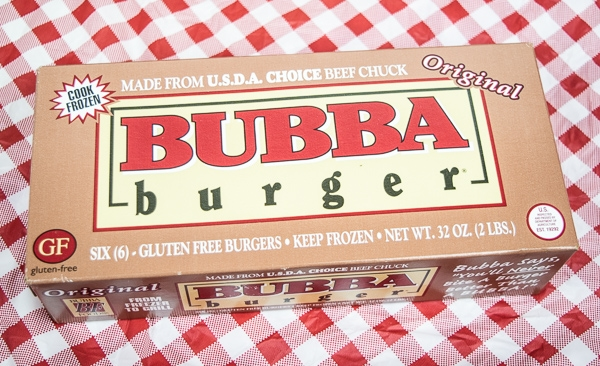 Bubba burgers ready to be grilled and served with zesty fries.