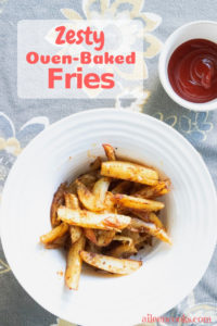 Whip up a batch of these tender and spicy oven-baked zesty fries and pair them with your favorite sandwich or burger.