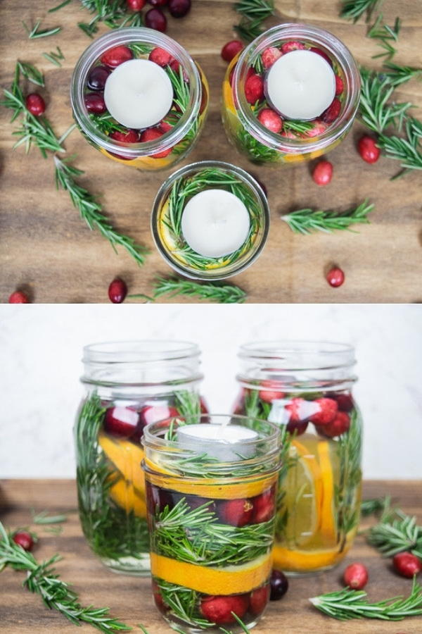 Create a beautiful centerpiece for your holiday table with these Mason Jar Christmas Centerpieces. They are festive and smell great!