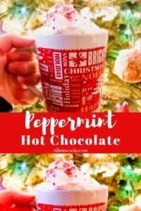 """A collage of mugs of hot chocolate with the words """"peppermint hot chocolate"""""""