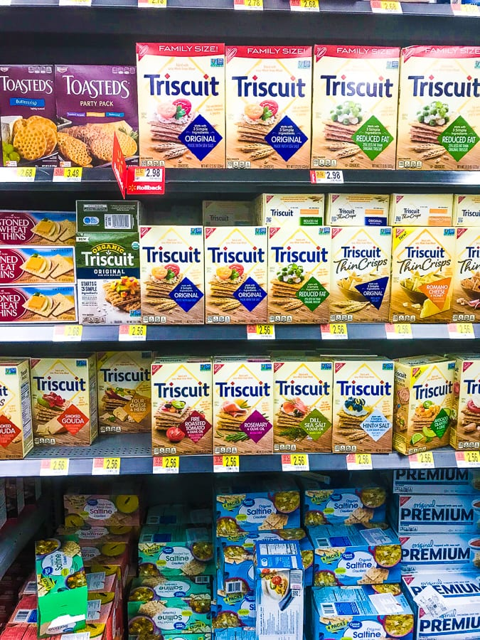 Walmart aisle featuring several different variations of Triscuit crackers.