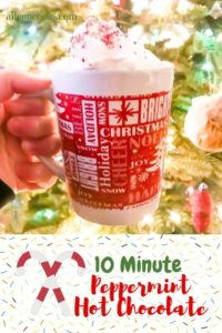 A hand holding a mug of homemade peppermint hot chocolate in front of a Christmas tree.