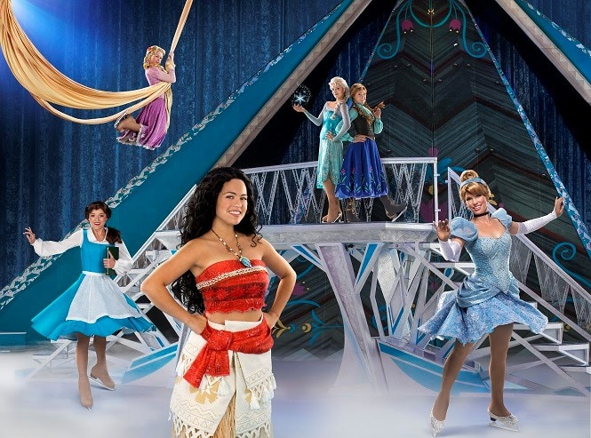 Disney on Ice presents dare to dream featuring all 5 princesses on the ice.