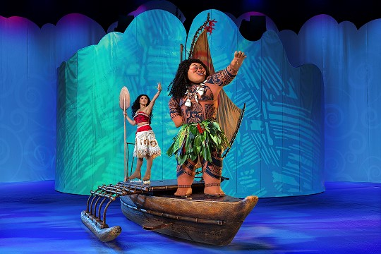 Moana and Maui in the Disney on Ice presents Dare to Dream show.