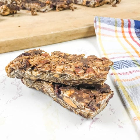 instant pot granola bars stacked up.