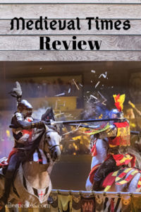 A picture of two knights jousting with the words Medieval Times Review above it.