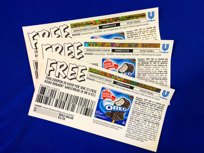 Three coupons for free OREO candy bars.