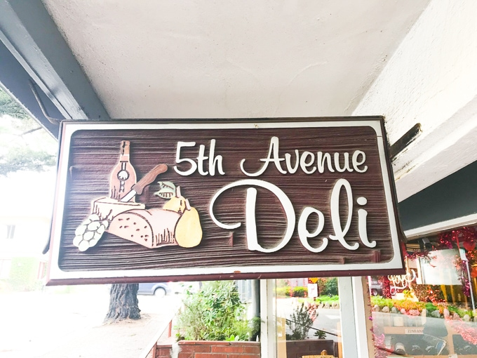 The sign for 5th Avenue Deli in Carmel by the Sea.