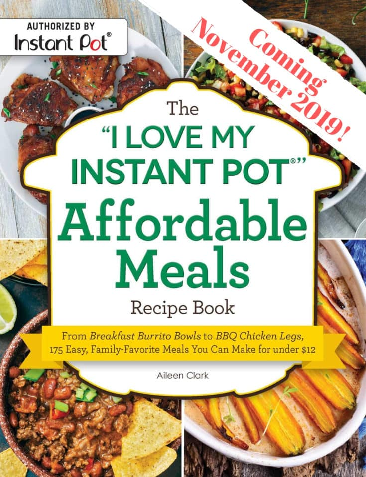 The cover of the I Love My Instant Pot Affordable Meals Recipe book.