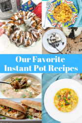 A collage image of several instant pot recipes.