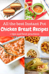 A collage photo of five different instant pot chicken breast recipes.