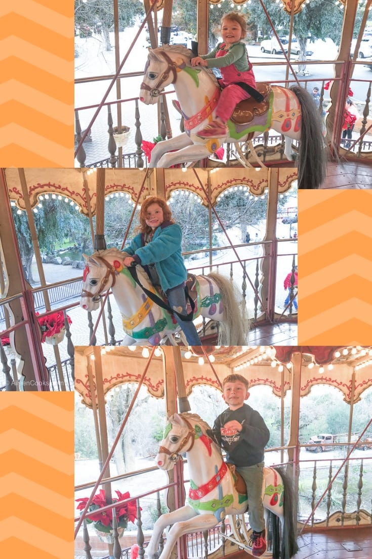 A collage of three kids on the carousel at Casa de Fruta.