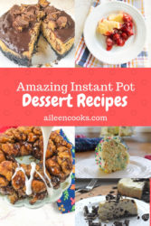 A photo of instant pot dessert recipes including Oreo cheesecake, Funfetti Cake, and monkey bread.