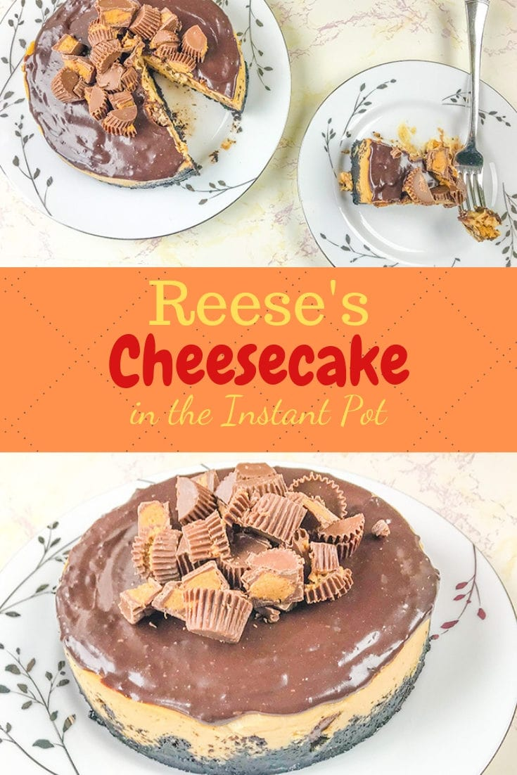 Make this Instant pot reese's cheesecake tonight! This instant pot dessert has a chocolate cookie crust with a peanut butter cheesecake filling topped with chocolate ganache and chopped peanut butter cups.
