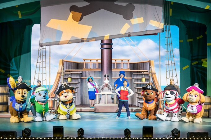 The whole Paw Patrol crew on stage at the Paw Patrol Live! show.