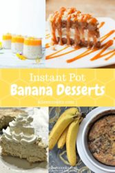 A collage of four instant pot banana desserts.