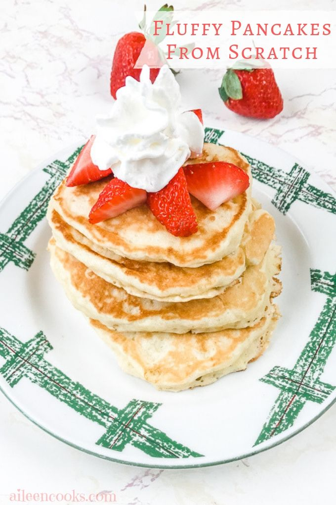 Whip up a batch of these fluffy pancakes from scratch and never make another pancake recipe again! They are light and fluffy and taste great with maple syrup or whipped cream.