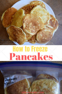 "A big stack of pancakes on a white plate with the words ""how to freeze pancakes""."