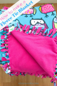 Pink and blue fleece tie blanket with owls.