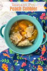 Close up of instant pot peach cobbler.