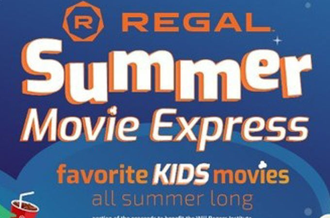Blue image with words Regal Summer Movie Express.