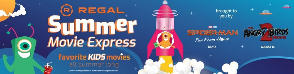 "Flyer with a rocket ship taking off and the words ""Summer Movie Clubhouse"""