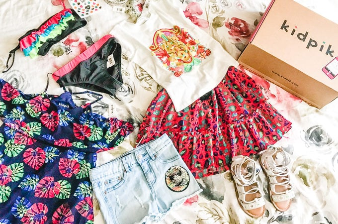 A flat lay of the Kidpik summer box outfits.