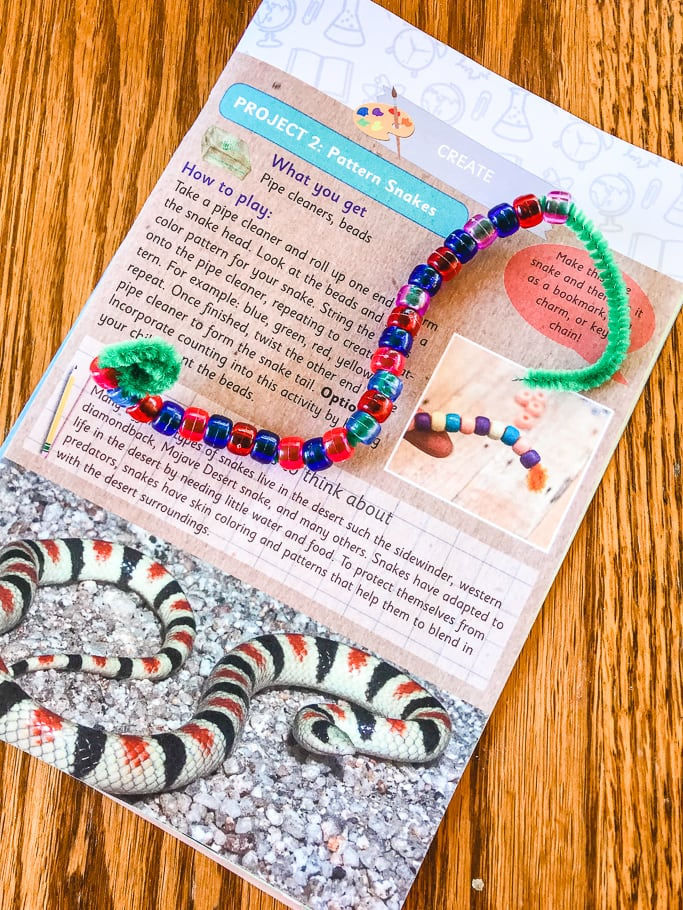 The completed pattern snake from the green kid crafts review.
