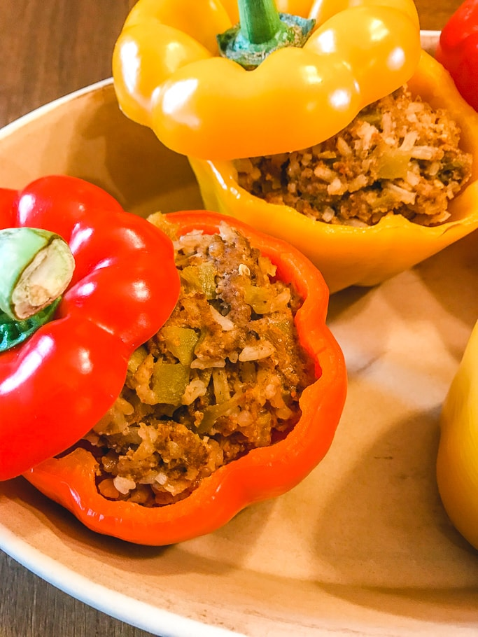 Close up of instant pot taco stuffed peppers.