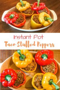 "A collage of two photos of bell peppers filled with taco meat and the words ""Instant Pot Taco Stuffed Peppers""."