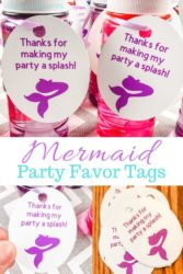 """Collage of mermaid favor tag images with words """" mermaid party favor tags""""."""