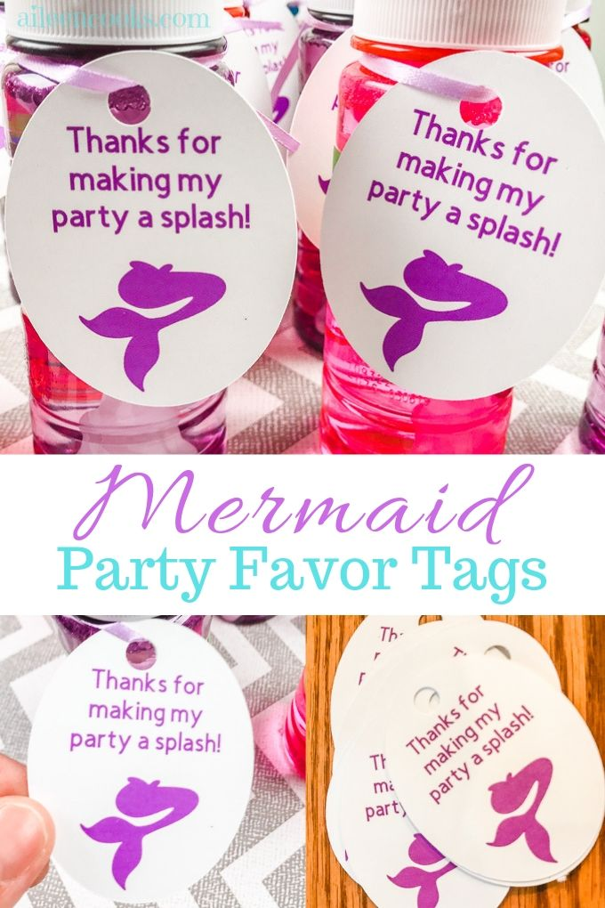 "Collage of mermaid favor tag images with words "" mermaid party favor tags""."