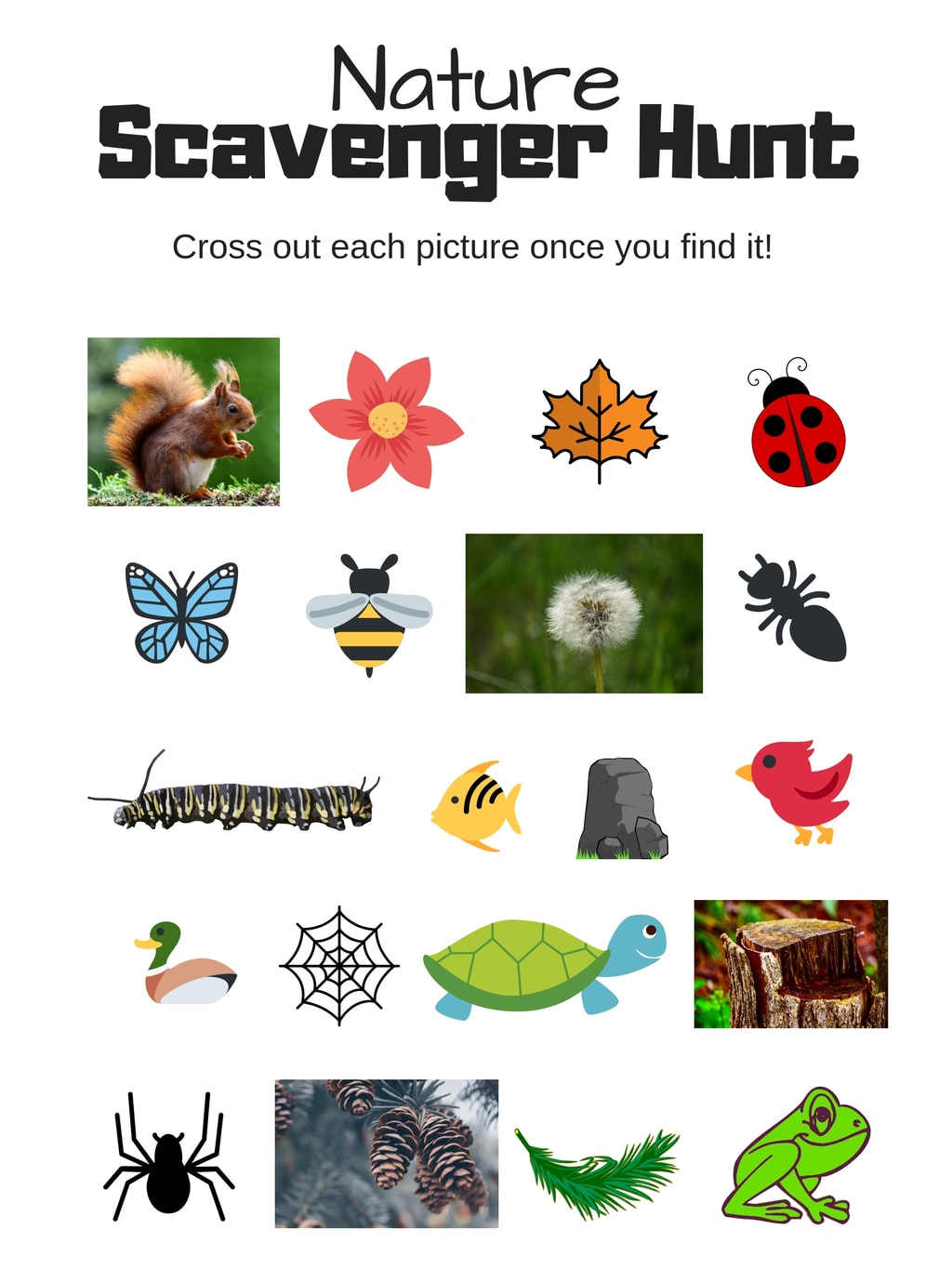 Image of free printable nature scavenger hunt for kids.