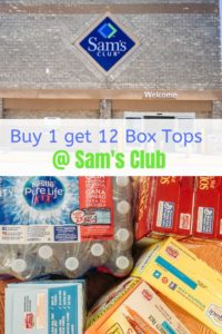 Collage photo with store front of Sam's Club on top and close up of items with Box Tops on bottom.