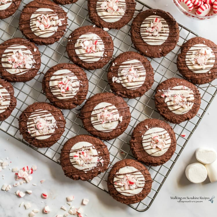 Chocolate marshmallow peppermint cookie on a cooling rack.