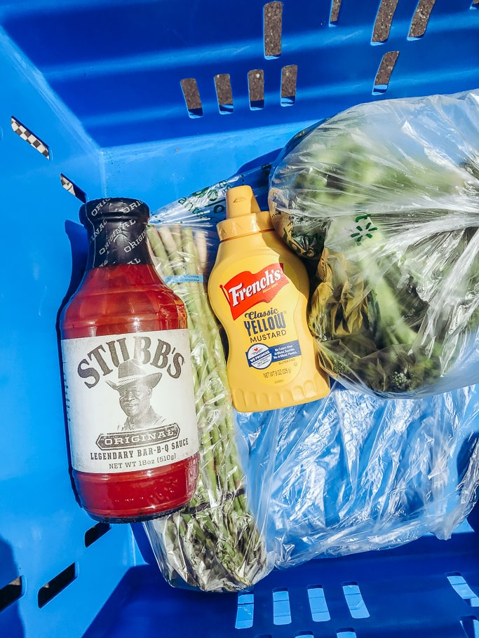 Stubb's Bar-B-Q Sauce and French's Mustard in a Walmart Grocery Pick-Up Cart.