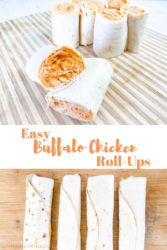 """A collage of two pictures of buffalo chicken pinwheels with the words """"buffalo chicken roll-ups""""."""