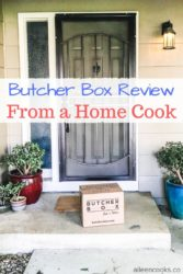 "Butcher box on a front porch with the words ""butcher box review from a home cook""."