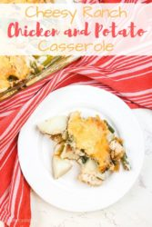 "A serving of chicken and potato casserole with the words ""cheesy ranch chicken and potato casserole"" in red and gold."