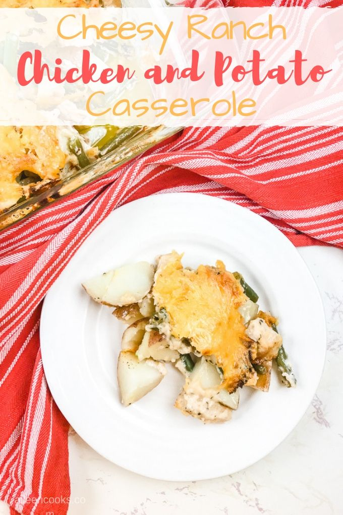 Are you looking for an easy chicken and potato casserole recipe? This main dish casserole recipe is for you! It's made with a creamy ranch sauce and topped with gooey cheese.