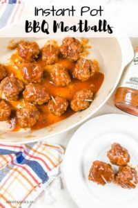 instant pot meatballs with bbq sauce on an oval dish.
