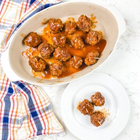 Overhead shot of instant pot meatballs with BBQ sauce.
